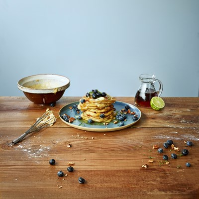 American Pancakes with Blueberries, Lime and Pecans