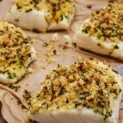 Caper and Parsley Crusted Cod