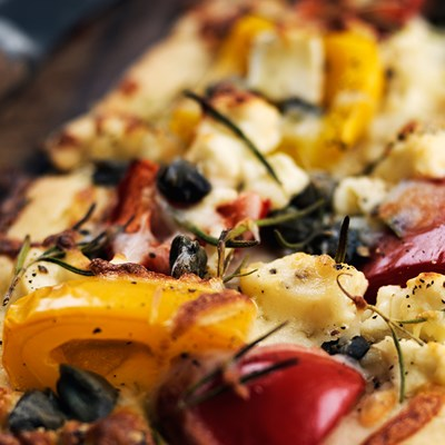 Pizza with Feta Cheese, Capers and Rosemary