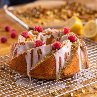 Saffron Butter Bundt Cake with Pistachio and Raspberry